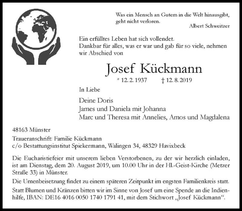 Nachruf auf Josef Kückmann