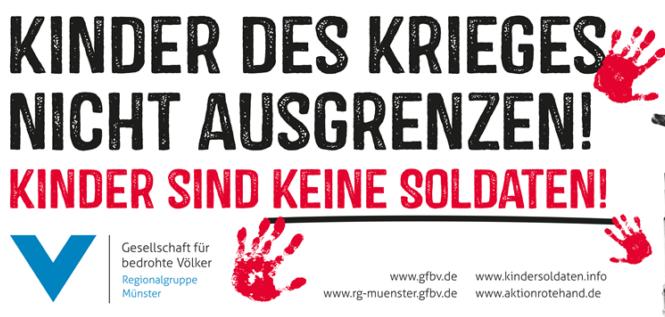 Mahnwache zum Red Hand Day und zur Erinnerung an das Schicksal der Kindersoldaten